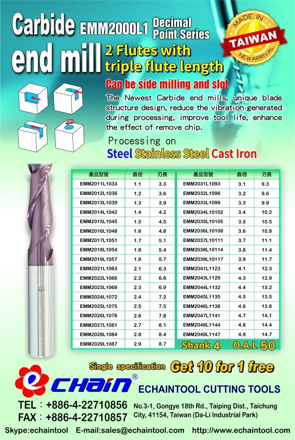 2 Flutes with triple flute length carbide end mill EMM2000L2