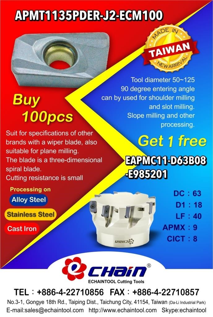 Insert APMT1135 Buy 100 pcs Get 1 free milling cutter (dia. 63) with Echaintool in Taiwan