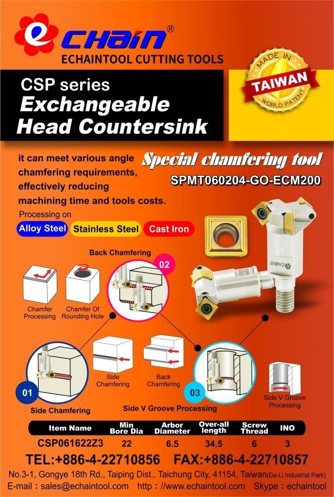 Special Chamfering tool Exchangeable Head Countersink CSP Series with insert SPMT060204-GO-ECM200
