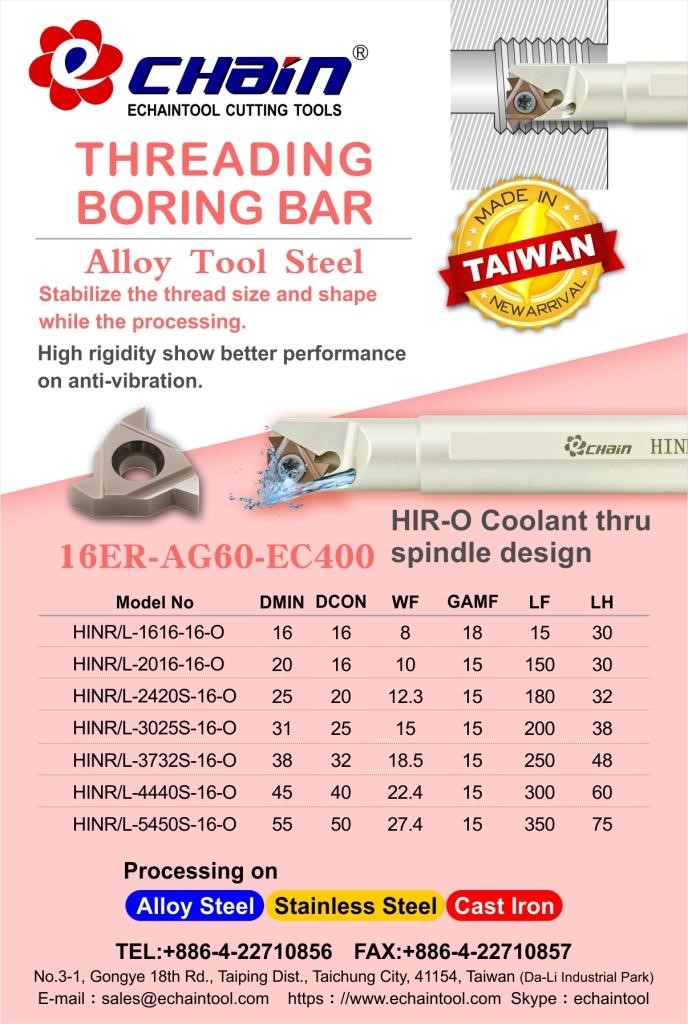 Threading Boring Bar Coolant thru spindle design Alloy tool steel HIR-O series with Echaintool in Taiwan
