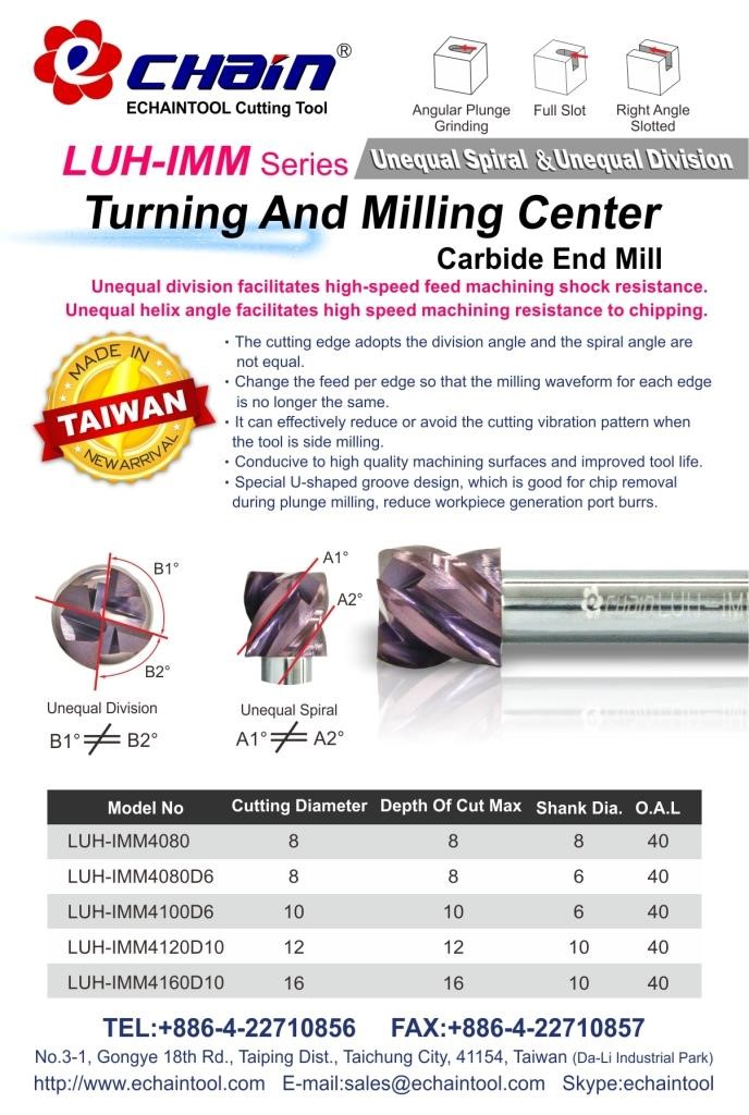 Turning and Milling Center Unequal Spiral and Unequal Division Carbide end mill LUH-IMM series
